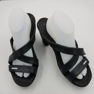 CROCS Black Croslyte Open Toe Heel Sandals